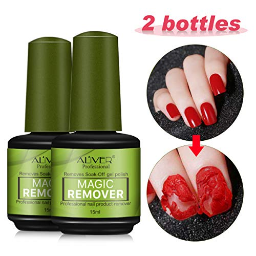 2 Pcs Magic Nail Polish Remover, Removes Soak Off Base Matte Top Coat Gel Nail Polish Healthy Fast Within 2-3 MINS