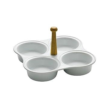 Plato para aperitivos (4 secciones hecho de cerámica blanco con mango de madera de bambú: Amazon.es: Hogar