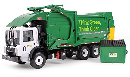 First Gear 1/34 Scale Diecast Collectible Waste Management Mack TerraPro with CNG Front Loader with Trash Bin (#10-4006) ()