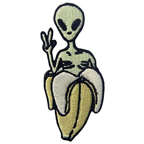 ZEGINs Patches Alien in Banana Oh Yeah Applique Embroidered Iron On Sew On Emblem