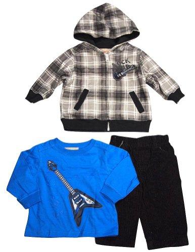 Kids Headquarters - Baby Boys 3 Pc Pant Set, Grey, Royal, Black 33226-24Months