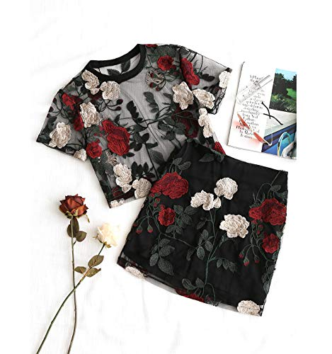 Floral Embroidered Mesh Blouse Pencil Skirt Set 2 Pieces Women Set Streetwear Flower Summer Beach High Waist Skirts Black