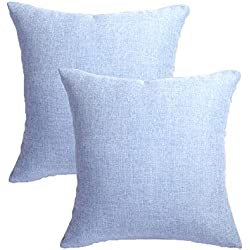 MRNIU Set of 2 Throw Pillow Covers Coastal Cushions Fine Faux Linen Home Decorative Soft Pillow Case Covers with Zipper for Chair No Pillow Insert Outdoor Indoor Home Decor(20 x 20 inch, Light Blue)