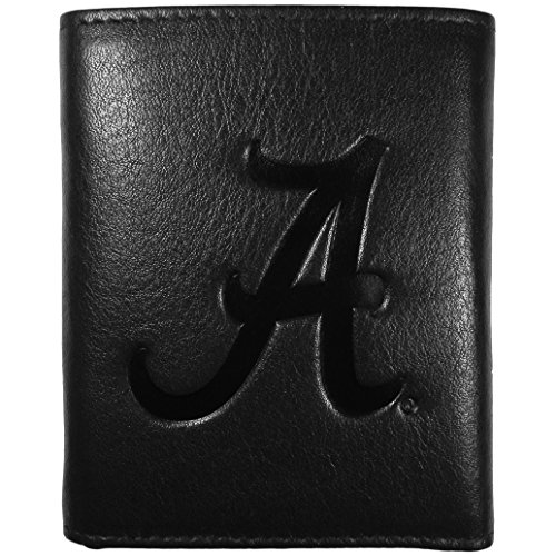 Siskiyou NCAA Alabama Crimson Tide Embossed Black Tri-fold Leather Wallet