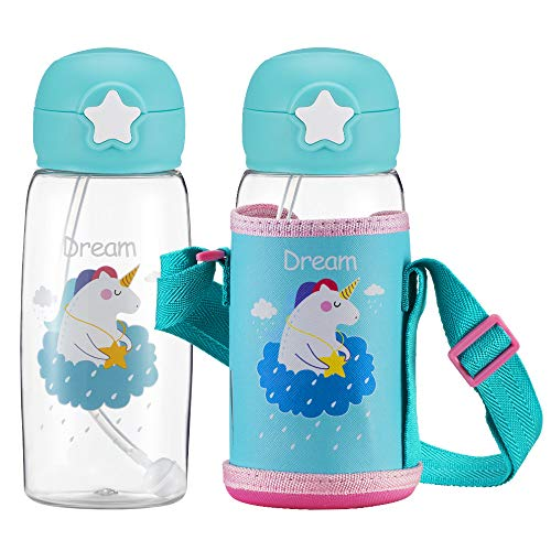 Unicorn Water Bottle with Straw for Kids, Cute Toddler Cup with Carrier Holder Shoulder Strap Leakproof BPA Free Flip Lid, Plastic Water Bottle for Boys and Girls, Child, Indoor Outdoor(17 oz Blue)