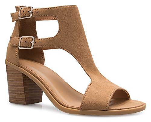 OLIVIA K Women's Sexy Peep Toe Low Block Heel Sandal - Adjustable, Comfort, Casual ()