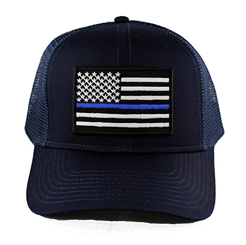Police Trucker Hat - Thin Blue Line Police Embroidered Iron on Patch Snapback Trucker Cap (Navy)