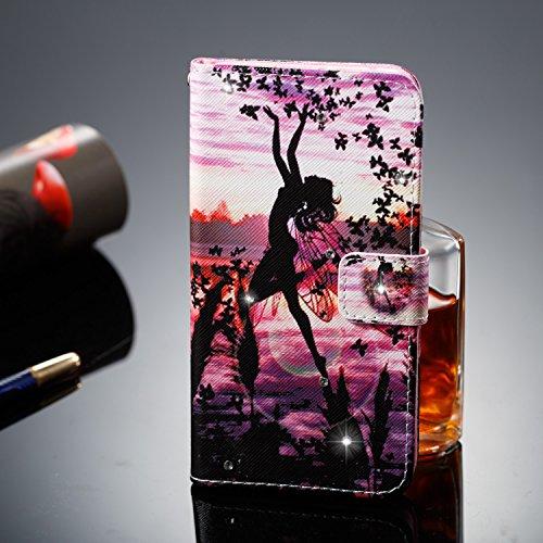 Hülle für Samsung Galaxy S7 Edge,Galaxy S7 Edge Schutzhülle,Galaxy S7 Edge Handyhülle Lederhülle,Hpory Luxus Bling Kristall Glitzer Strass Diamant Colorful Painting PU Leather Ledertasche Lederhülle B Schmetterlings Mädchen
