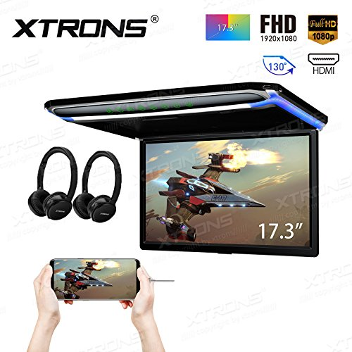 XTRONS 17.3 Inch 16:9 Ultra-Thin FHD Digital TFT Screen 1080P Video Car Overhead Player Roof Mounted Monitor HDMI Port 19201080 Full High Definition Headphones