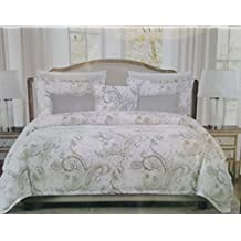 Tahari Home King Duvet Cover 3pc Set Moroccan Paisley Floral Medallion Bohemian Style Blue Cream Tan Gray Luxury Sateen Cotton Bedding