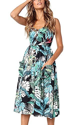 Bibowa Women Floral Printed Swing Dress with Pockets Casual Boho Dresses Tropical S -