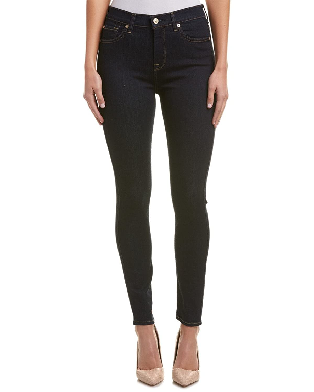 Seven For All Mankind Womens 7 For All Mankind The High-Waist Dark Onyx Sky Ankle Cut, 26, Blue