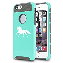 Apple iPhone 6 6s Shockproof Impact Hard Case Cover Horse (Teal/Gray)