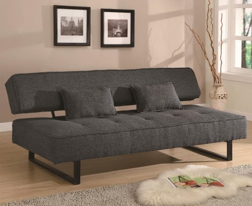 Contemporary Style Armless Sofa Bed In Grey Flax Upholstery With 2 Accent  Pillows! By Toscana Home Interiors
