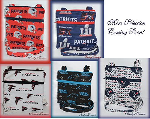 (NFL Handmade Quilted Crossbody Bag, Falcons, Patriots, Panthers, Dallas, Cowboys, Quilted Bag, Travel Bag, Passport Bag, Choose Other Theme)