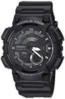 Casio Men's 'CLASSIC' Quartz Stainless Steel and Resin Casual Watch, Color:Black (Model: AEQ-110 W-1BVCF)