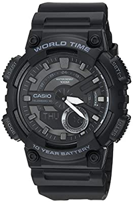 Casio Men's 'Classic' Quartz Stainless Steel and Resin Casual Watch, Color:Black (Model: AEQ-110W-1BVCF) from Casio