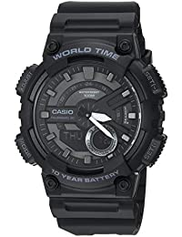 Men's 'CLASSIC' Quartz Stainless Steel and Resin Casual Watch, Color:Black (Model: AEQ-110W-1BVCF)