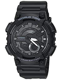 Casio Men's 'CLASSIC' Quartz Stainless Steel and Resin Casual Watch, Color Black (Model: AEQ-110W-1BVCF)