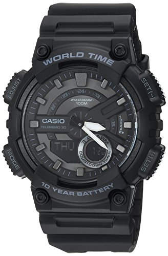 - Casio Men's 'CLASSIC' Quartz Stainless Steel and Resin Casual Watch, Color:Black (Model: AEQ-110W-1BVCF)
