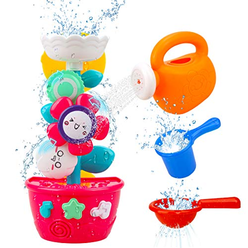 Hommate Bath Toys for Toddlers Babies and Kids 1 2 3 Year Old Boys Girls Bathtub Toys Gifts with 1 Mini Sprinkler 2 Toys Cups Strong Suction Cups for Age 1 2 3 (Bath ToyC)