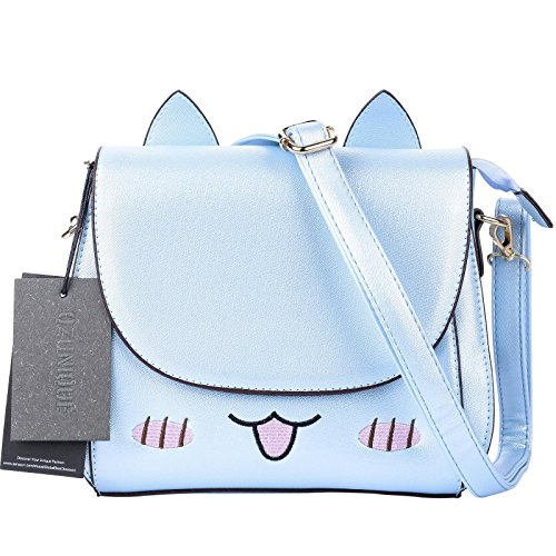 QZUnique Women's Summer Fashion Top Handle Cute Cat Cross Body Shoulder Bag Blue