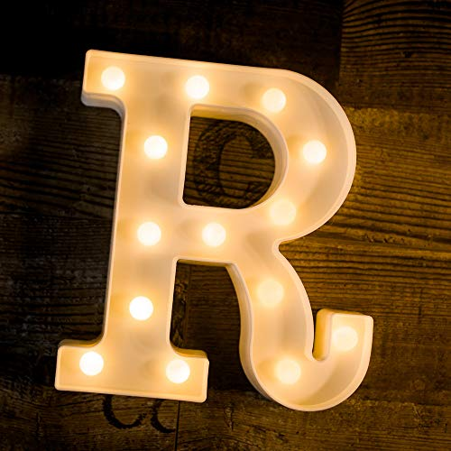 - Yoaky LED Marquee Letter Lights Sign 26 Alphabet Light Up Marquee Letters Sign for Night Light Wedding Birthday Party Battery Powered Christmas Lamp Home Bar Decoration (R)