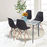 Merax Eames Style Chair Set of 4 Dining Chairs with Wood Legs (Black-(4))