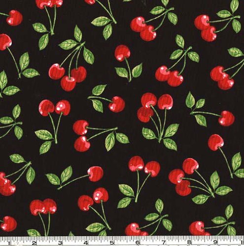 Cherries Black Fabric - Cherry Cotton Fabric
