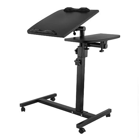 Mesa Ordenador Portátil con Ruedas, Laptop Mesa Altura Ajustable y el Ángulo de Inclinación Ajustable