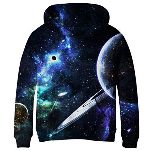 SAYM Teen Boys' Galaxy Fleece Sweatshirts Pocket Pullover Hoodies 4-16Y NO28 M