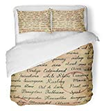 Emvency 3 Piece Duvet Cover Set Breathable Brushed Microfiber Fabric Red Old with Names of Wine Grapes and Related Terms Calligraphy Aged Alcohol Bedding Set with 2 Pillow Covers Twin Size