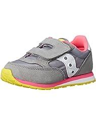 Saucony Jazz Hook & Loop Sneaker (Toddler/Little Kid), Grey/Pink, 4 M US Toddler