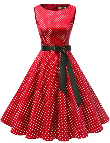 Gardenwed Women's Audrey Hepburn Rockabilly Vintage Dress 1950s Retro Cocktail Swing Party Dress Red Small White Dot XS