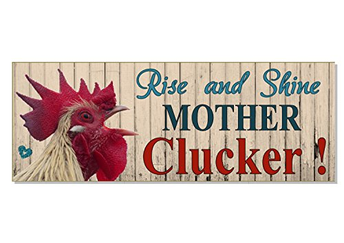 Dom3inic Rise and Shine Mother Clucker Outdoor weatherproof Sign Plaque Love Cockerel Rooster Chicken Gift Coop Run House Garden Acrylic Gift Idea 11 x 7.5 inch.