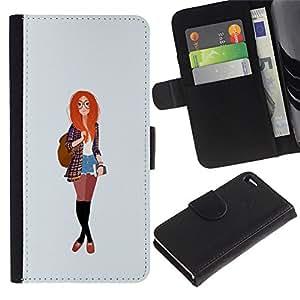 A-type (Redhead Smart Hipster Feminist Education) Colorida Impresión Funda Cuero Monedero Caja Bolsa Cubierta Caja Piel Card Slots Para Apple Iphone 4 / 4S