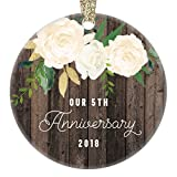 Our 5th Anniversary Ornament 2018, Fifth Year Married Christmas Gift, Wedding Anniversaries Marriage Couple Him Her Keepsake 3'' Flat Circle Porcelain Ceramic Ornament with Gold Ribbon & Free Gift Box
