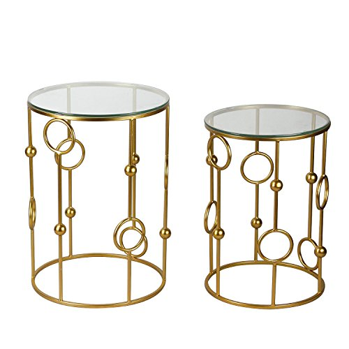 Joveco Gold End Tables With Glass Top. Decorative For Living Room, Patio, Garden or Bed room. Gold End Table Set of 2. Review