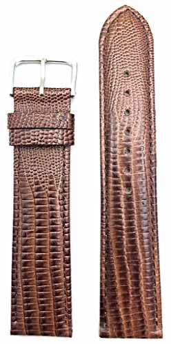 22mm Long, Dark Brown Genuine Leather Watch Band | Classy Teju Lizard Grain, Lightly Padded Replacement Wrist Strap That Brings New Life to Any Watch (Mens Long Length)