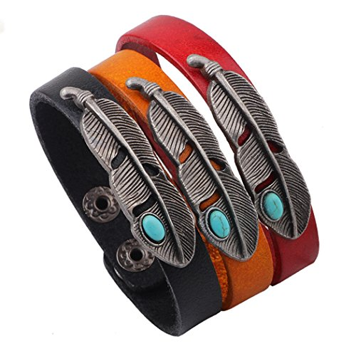 [MORE FUN 3pcs of Alloy Angel Wing Feather Genuine Leather Warp Bangle Cuff Adjustable Button] (Home Made Angel Costumes Kids)