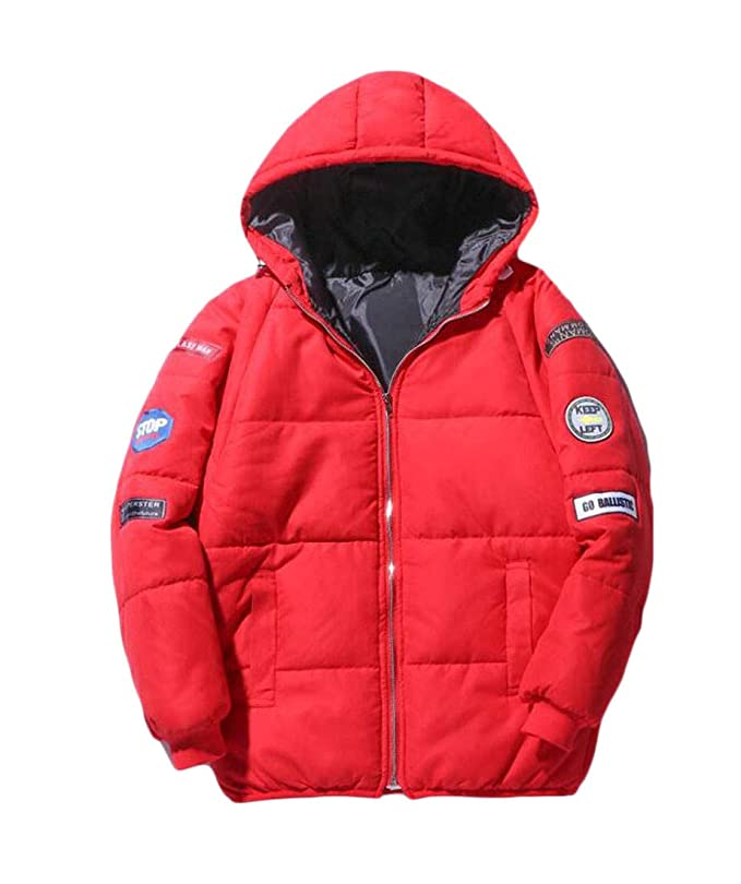 Pluszing Mens Cotton-Padded Casual Quilted Outwear Jacket Parkas Coat
