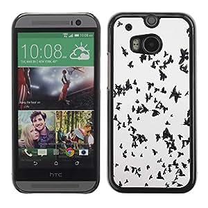 FECELL CITY // Duro Aluminio Pegatina PC Caso decorativo Funda Carcasa de Protección para HTC One M8 // Birds Migrating Black White Flock Sky Deep
