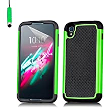 32nd® Shock proof dual defender case cover for Alcatel OneTouch Idol 3 mobile phone (5.5 inch version) + touch stylus - Green