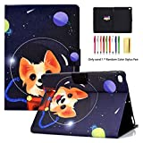 iPad 9.7 2018 2017 Air Air 2 Case - LittleMax Ultra Slim Lightweight Case Flip Folio Stand Auto Wake Sleep Cover Comptible for Apple iPad 9.7 Inch2018 2017 - Air 1 2 -# Dog in Space