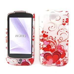 """HTC Google Nexus One Snap-On Protector Hard Case Image Cover """"Red Hearts"""" Design"""