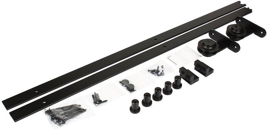 negro Yosoo Kit de puerta corrediza Polea de Rail suspendida sistema de puerta corredera conjunto completo para puertas interiores correderas tabiques granero armario Hardware de acero inoxidable