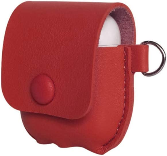 Red Jakarol Cover Skin for AirPods 3 Charging Case Leather Case for AirPods Pro with Keychain Strap and Cord Keeper
