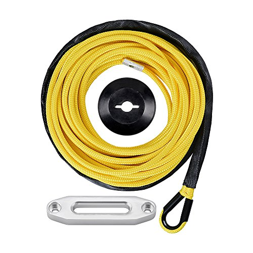 1/4 x 50' Synthetic Winch Line Cable Rope 7000+ LBs w/39' Rock Guard Sheath ATV UTV SUV Off-Road Ramsey (Full Set, Yellow)