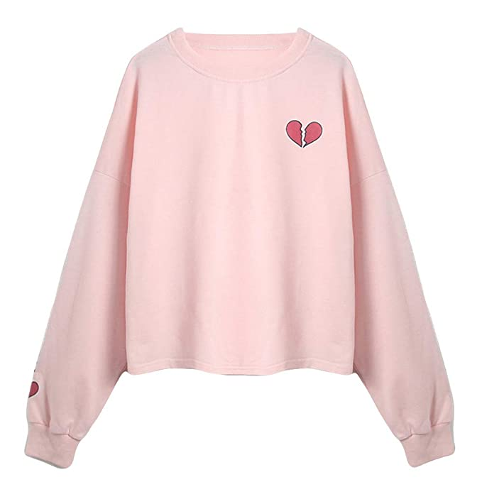 LUCA Fashion Womens Tenn Girls Long Sleeve Pink Sweatshirts Heart-Shaped Printed Loose Causal Autumn Tops Blouse at Amazon Womens Clothing store: