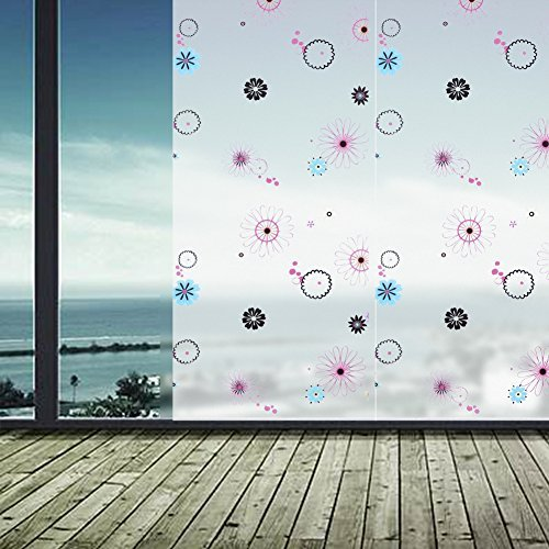 Whitelotouse Decorative Flower Frosted Window Film Window Sticker Toilet Partition Bathroom Glass Privacy Film (17.71 x 78.74 inch)